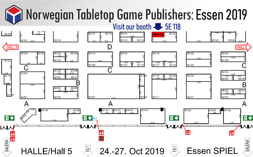 Essen SPIEL'19 - Exhibitor booths for Norwegian Tabletop Game Publishers Association